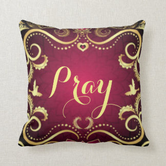 Burgundy Gold Pray Pattern Print Design Throw Pillow