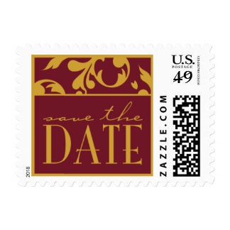 Burgundy & Gold Save The Date Small Postage