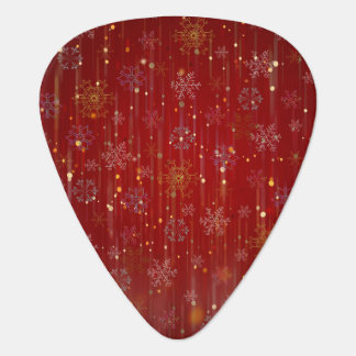Burgundy Gold Sparkling Snow Flakes Guitar Pick