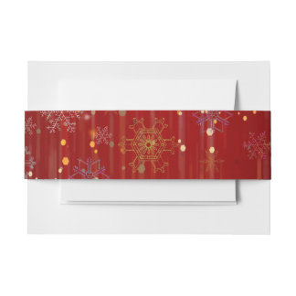 Burgundy Gold Sparkling Snow Flakes Invitation Belly Band
