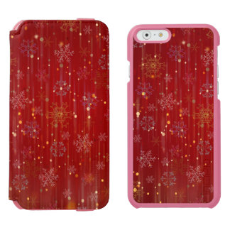 Burgundy Gold Sparkling Snow Flakes iPhone 6/6s Wallet Case