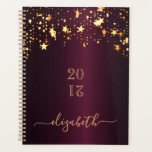 """Burgundy gold stars shining monogram 2021 planner<br><div class=""""desc"""">IN 2021 YOU WILL RECIVE A NOTIFICATION THAT YOU'LL HAVE TO REVIEW NUMER 21 IN RED. THIS IS OK AND YOU DON'T HAVE TO DO ANYTHING. A dark burgundy faux metallic looking background with dripping faux gold stars. Template for a year (upside down) Personalize and add a name. The name...</div>"""