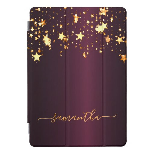 Burgundy gold stars shining monogram iPad pro cover