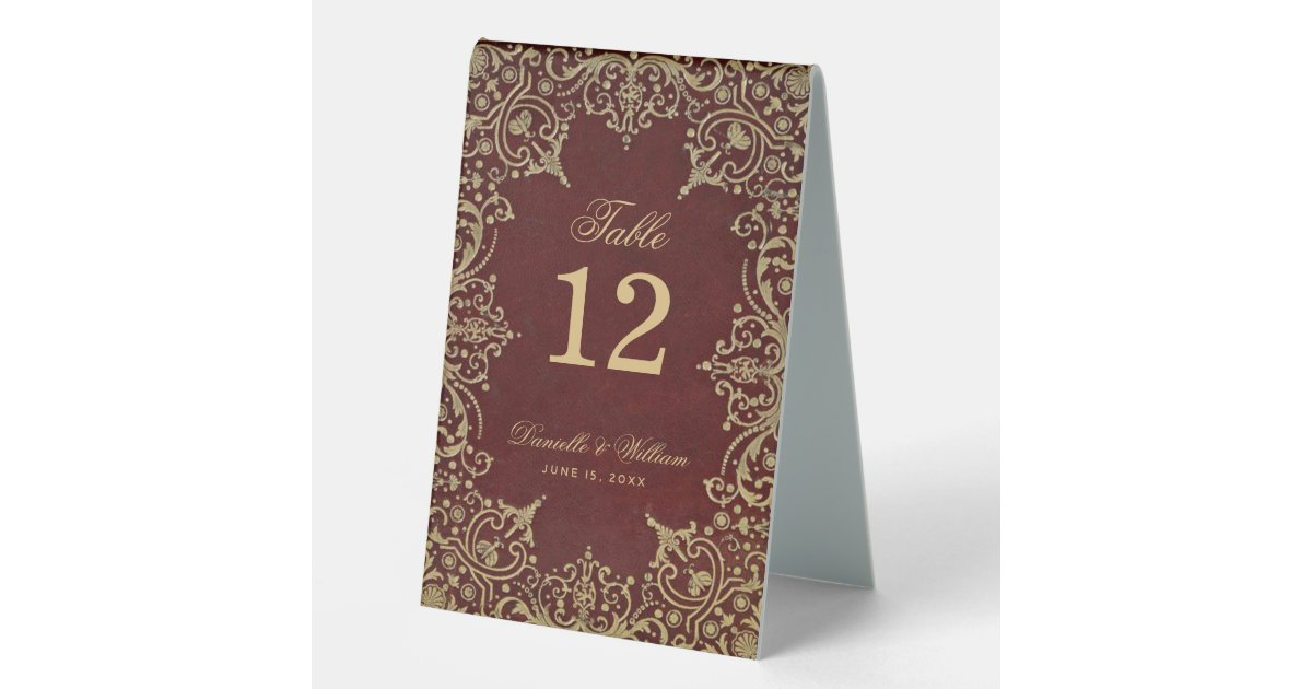 burgundy gold vintage elegant calligraphy wedding table tent sign zazzle com zazzle