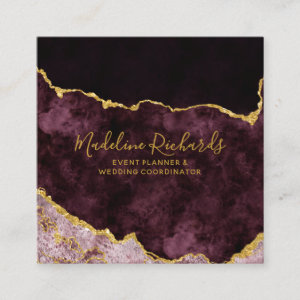 Burgundy & Gold Watercolor Marble Agate Gilded Square Business Card