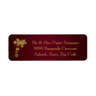 Burgundy gold wedding return address label