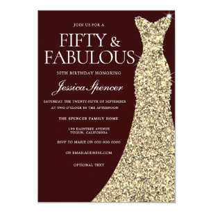 50 and fabulous invitations zazzle burgundy golden dress 50 fabulous 50th birthday invitation filmwisefo