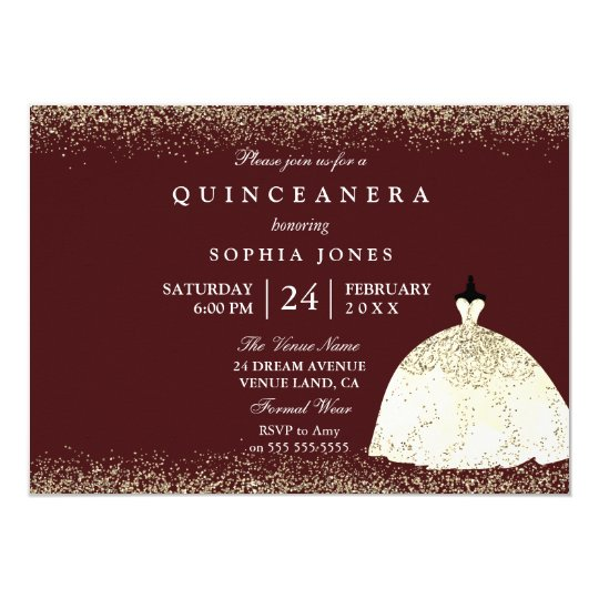 Burgundy Golden Dress Glitter Quinceanera Invite Zazzle Com