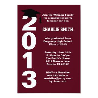 Burgundy Graduation Party Invitation Class of 2013