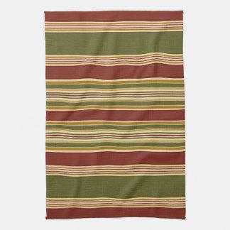 Burgundy Green Ivory Ochre Yellow Stripes Pattern Kitchen Towel