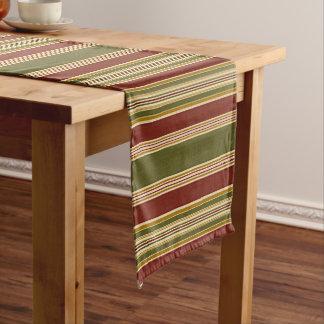 Burgundy Green Ivory Ochre Yellow Stripes Pattern Long Table Runner