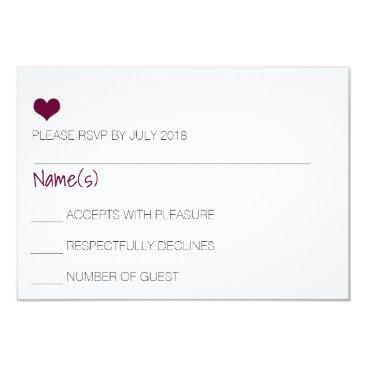 Beach Themed Burgundy Heart RSVP Card
