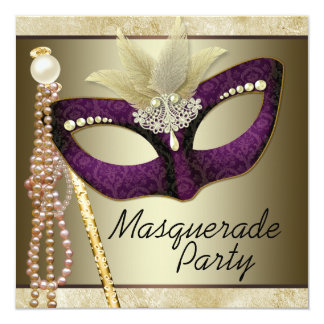 Burgundy Ivory Pearl Masquerade Party Card