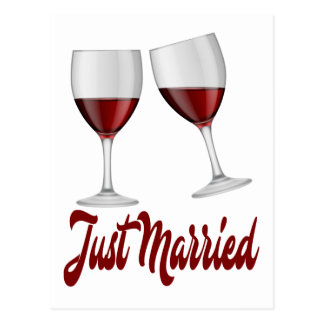 Burgundy Just Married Red Wine Champagne Glasses Postcard
