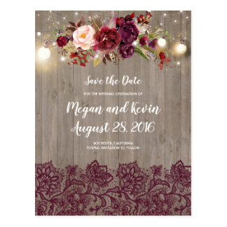 Burgundy Lace and Flowers Rustic Save the Date Postcard