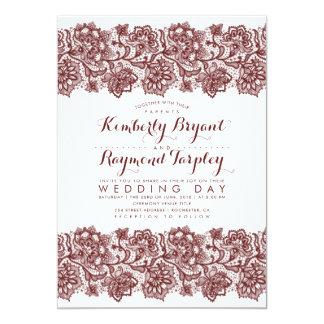 Burgundy Lace Elegant Vintage Wedding Invitation