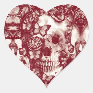 Burgundy Lace skull pattern Heart Sticker