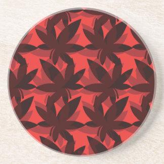 Burgundy Layered Leaves Coaster