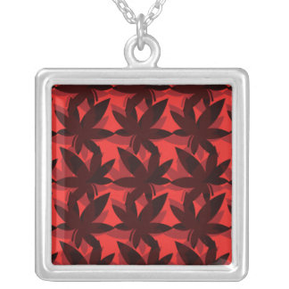 Burgundy Layered Leaves Necklace
