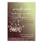 Burgundy, Light Green Dandelion Save the Date Card
