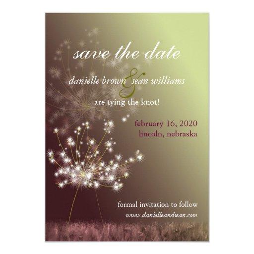 Burgundy, Light Green Dandelion Save the Date Card Custom Announcements