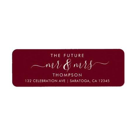 Burgundy Luxury Elegant Future MR and MRS Address Label