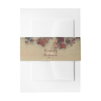 Burgundy Maple Leaves Rustic Burlap Fall Wedding Invitation Belly Band