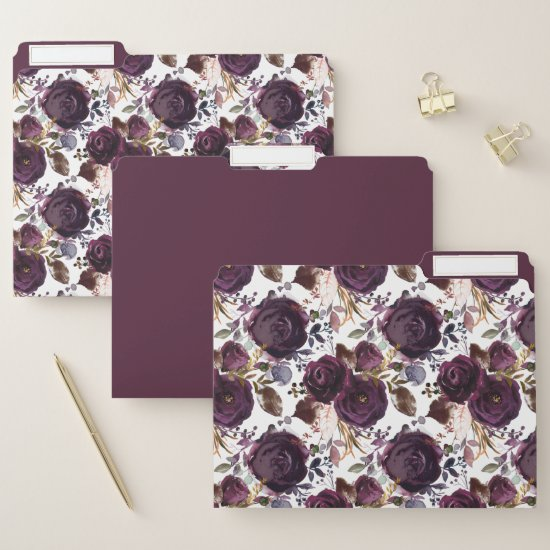 Burgundy Maroon Marsala Watercolor Roses Greenery File Folder