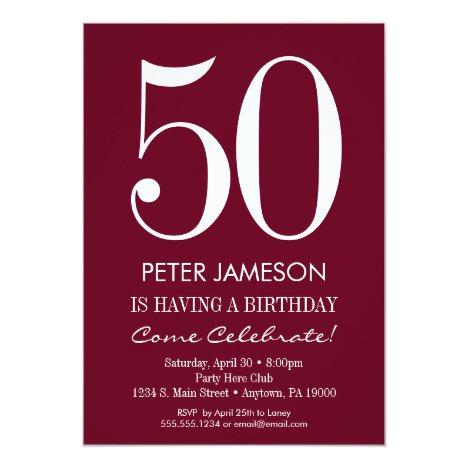 Burgundy Maroon Modern Adult Birthday Invitations