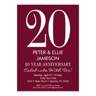 Burgundy Maroon Modern Anniversary Invitations