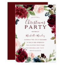 Burgundy Maroon Red Floral Christmas Party Invitation