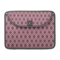 Burgundy Maroon & White Retro Pattern MacBook Pro Sleeve