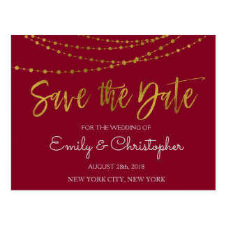Burgundy Marsala and Gold Foil Save the Date Postcard