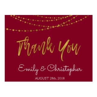 Burgundy Marsala and Gold Foil Thank You Postcard