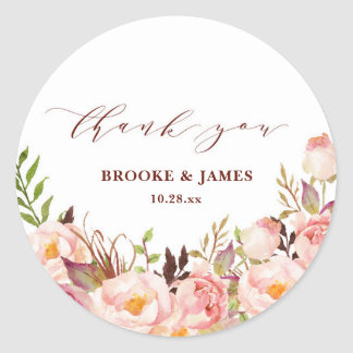 Burgundy Marsala Blush Boho Wedding Sticker