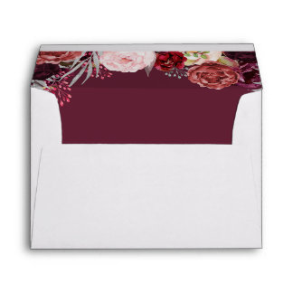 Burgundy Marsala Blush Peony Wedding Envelopes