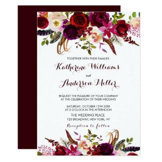 Burgundy Marsala Bohemian Floral Autumn Wedding Invitation