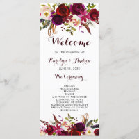 Burgundy Marsala Bohemian Floral Wedding Program