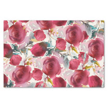 Burgundy Marsala Boho Floral Watercolor Pattern Tissue Paper