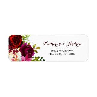 Burgundy Marsala Boho Watercolor Floral Address Label