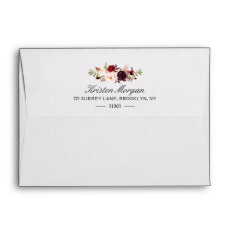 Burgundy Marsala Chic Red Floral & Return Address Envelope at Zazzle