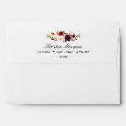 Burgundy Marsala Chic Red Floral & Return Address Envelope