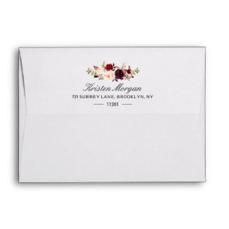 Burgundy Marsala Chic Red Floral & Return Address Envelope