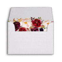 Burgundy Marsala Chic Red Floral with Address RSVP Envelope