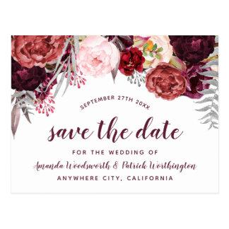 Burgundy Marsala Fall Peony Save The Date Cards