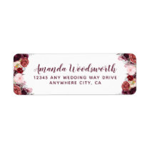 Burgundy Marsala Fall Peony Wedding Address Labels