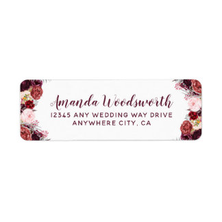 Burgundy Marsala Fall Peony Wedding Address Labels
