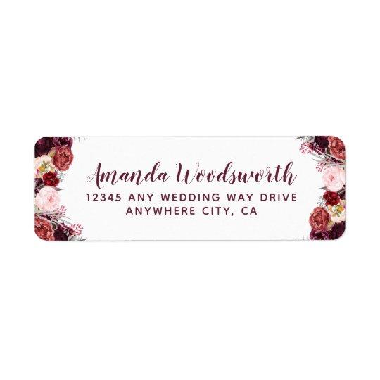 burgundy marsala fall peony wedding address labels zazzle com