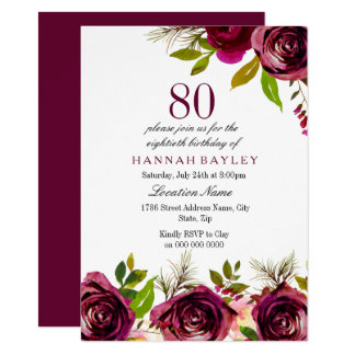 Burgundy Marsala Floral 80th Birthday Invite