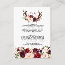 Burgundy Marsala Floral Antlers Wedding Details Enclosure Card
